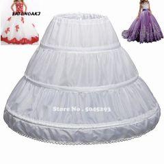 White Children Petticoat A-Line 3 Hoops One Layer Kids Crinoline Lace Trim Flower Girl Dress Underskirt Elastic Waist