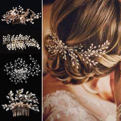 Western Wedding Fashion Headdress For Bride Handmade Wedding Crown Floral Pearl Hair Accessories Hair Ornaments
