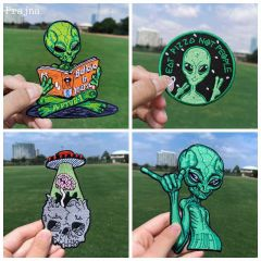 UFO Patch Iron On Patches On Clothes Heat-adhesive Embroidered Patches For Clothing Alien Patch For Clothes Jackets DIY