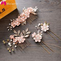 Luxury Hairpin For Women Hair Combs Headdress Prom Bridal Wedding Crown Elegant Hair Accessories Gold Leaves Headwear