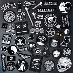 Black and white Clothe Embroidery Patch Applique Ironing Clothing Sewing Supplies Decorative Badges Patches For Clothing