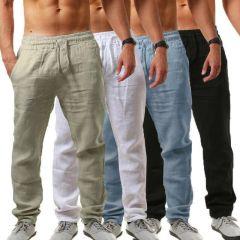 men Cotton and linen trousers Calcas De Linho Verao Calcas Dos Homens Com Cordao Soltas Pantalones Hombre Solidos Harem Pan