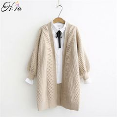 Spring Sweater Cardigans Women V neck Lantern Sleeve Open Stitch Loose Sweater Jacket Cheap Clothes Female Knit Coat