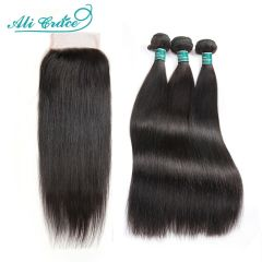 Hair Brazilian Straight Hair Bundles With Closure 6x6 5x5 Closure with Bundles 30 inch Human Hair Bundles With Closure