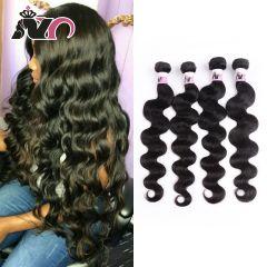 Brazilian Body Wave 4 Bundles Hair 100% Human Hair Weave Natural Black Non-Remy Body Wave Bundles Deals for Black Women