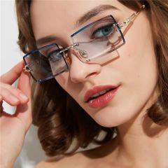Luxury Brand Rectangle Ladies Sunglasses Women Rimless Square Polarized Sun Glasses For Ladies Zonnebril Dames Vrouwen Bril
