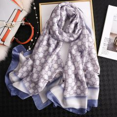 Luxury brand hijab summer women scarves soft long print silk scarves lady shawl and wrap pashmina bandana beach stoles