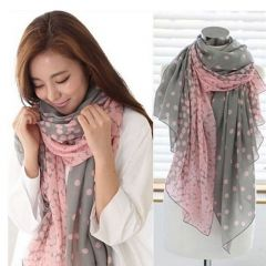 Hot Sale Women Scarf Autumn Warm Soft Long Voile Neck Large Wrap Shawl Stole Pink Grey Dots Scarve 166*60cm