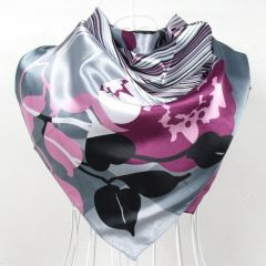 Elegent Women Large Square Silk Scarf Printed,90*90cm Fashion Spring And Autumn Grey And Purple Polyester Silk Scarf Shawl