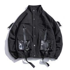 Men Military Jacket Coats Casual Windbreaker Ribbons Pockets Men's Overalls Bomber Jacket Hip Hop Streetwear Man Outwear