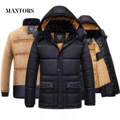 Winter Men Jacket Coat Warm Fleece Casual Hooded Outwears Male Parka Coats Men's Plus Velvet Thicken Fur Zipper Overcoat