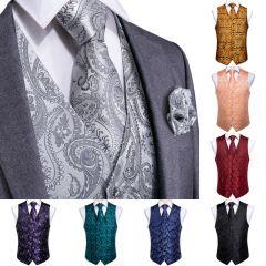 Top 9 styles Vest for Men Silver Red Orange Blue Men's Vest Suit Business Wedding Party Occasion Hanky Cufflinks Vests