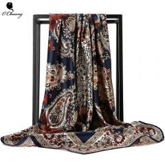 Silk Scarf Fashion Foulard Satin Shawl Scarfs Big Size 90*90cm Square silk Hair / Head Scarves Women bandana