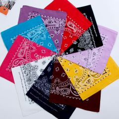 New Hip Hop 100% Cotton 55cm*55cm Black Red Paisley Printed Bandanas For Women/Men/Boys/Girls