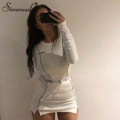 Casual Fashion Reflective Striped Two Piece Outfits Women Long Sleeve Top And Mini Skirt Sets Autumn White Set New