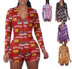 spring short pants Rompers Sexy Bodycon long sleeve print jumpsuit for women