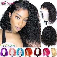 Jerry Curly Bob Lace Front Human Hair Wigs Brazilian Kinky Curly Pixie Cut Wig 180 Density Ombre Blonde Pink Colored Bob Wigs