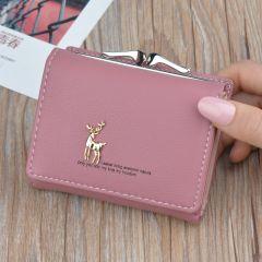 Cartoon Leather Women Purse Pocket Ladies Clutch Wallet Women Short Card Holder Cute Girls Deer Wallet Cartera Mujer