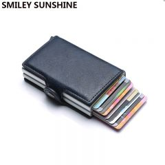 Top Quality Rfid Wallet Men Money Bag Mini Purse Male Aluminium Card Wallet Small Clutch Leather Wallet Thin Purse carteras