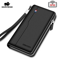 Genuine leather RFID Blocking Wallet Zipper Coin Pocket Long Purse Passport Cover For Men Card Holder Purse