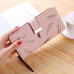 Hot Women Wallet Female Long Wallet PU Leather Purse Hollow Leaves Pouch Handbag For Women Coin Purse Card Holders Clutch