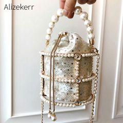 Hollow Out Pearl Bucket Evening Bag Women Luxury Designer Korean Handmade Alloy Metallic Clutch Bag Ladies Shoulder Bags