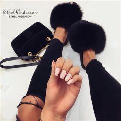 Fashion Real Raccoon Fur Slides Slippers Summer Flip Flops Casual Vogue Fox Fur Sandals Vogue Plush Shoes