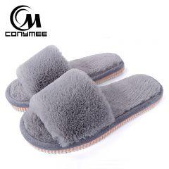 Womens Fur Slippers Winter Shoes Big Size Home Slippers Plush Pantufa Women Indoor Warm Fluffy Terlik Cotton Shoes