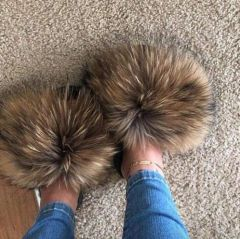 Hot Fur Slippers Women Fox Home Fluffy Sliders Comfort With Feathers Furry Summer Flats Sweet Ladies Shoes Size 45 Home Shoes