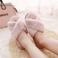Winter Women Home Slippers with Faux Fur Fashion Warm Shoes Woman Slip on Flats Female Slides Black Pink Plus Size