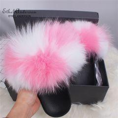 Fur Slippers Women Real Fox Fur Slides Furry Flat Sandals Female Cute Fluffy Shoes