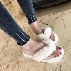 Winter Fashion Women Home Slippers Faux Fur Warm Shoes Woman Slip on Flats Female Fur Flip Flops Pink Plus Size 36-41