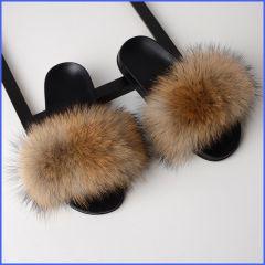 Fur Slippers Women Real Fox Fur Slides Home Furry Flat Sandals Female Cute Fluffy House Shoes Woman