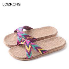 Summer 13 Colors Flax Home Slippers Women 35-45 Large Size Slapping Beach Flip Flops Non-slip Unisex Family Slippers