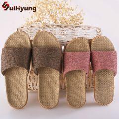 Women Men Summer Slippers Soft Flax Indoor Home Flip Flops Hemp Open Toe Sandals Ladies Flat Casual Slides Beach Shoes