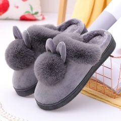 Women Winter Slippers Furry Rabbit Ears Plush velvet Snow Female Slipper Indoor Home Shoes Plus Size Ladies Soft Comfort Shoes