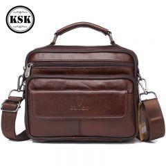 Men's Genuine Leather Bag Messenger Bag CrossBody Bags Shoulder Handbag Male Luxury Handbags Fashion Flap Pocket