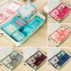 Hot Selling 6Pcs Travel Clothes Storage Waterproof Bags Portable Luggage Organizer Pouch Packing Cube 8 Colors Local Stock