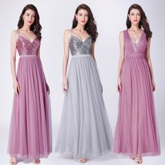Long Prom Dresses  Elegant A Line V Neck Tulle Wedding Party Gowns With Sequin Vestidos De Fiesta Elegantes Largos