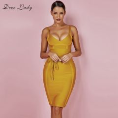 Bandage Dress New Arrivals Summer Yellow Bodycon Dress V Neck Spaghetti Strap Autumn Bandage Dress Party Women