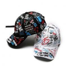 New Unisex Women Men Hats Adjustable Black White Color Printing Graffiti All-matching Baseball Cap For Male Female
