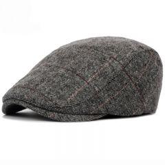 Autumn Winter Men Cap Hats Berets British Western Style Wool Advanced Flat Ivy Cap Classic Vintage Striped Beret Cap