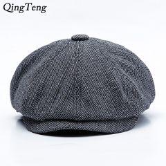 2 Sizes Peaky Blinders Men Berets Hat Autumn New Vintage Herringbone Octagon Cap Women Casual Pumpkin Hat Gatsby Flat Beret Hats