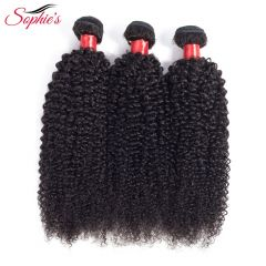 Hair Bundles Kinky Curly Hair Bundles Non-Remy Human Hair Bundles With Closure Double Weft Hair Extension