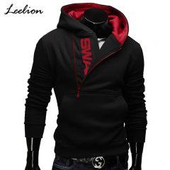 Side Zipper Hoodies Men Cotton Sweatshirt Spring Letter Print Sportswear Slim Pullover Tracksuit Hip Hop Streetwear