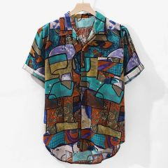 New Arrivals Casual Print Brand Shirt Men Short Sleeve Button Tops Loose Fashion Men Beach Hawaiian Shirt M-4XL