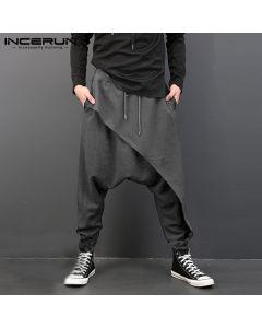 Plus Size Men Casual Drape Drop Crotch Harem Hip-hop Pants Trouser Baggy Dancing Pants Gothic Punk Style Harem Pants Men