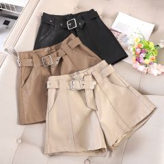 autumn and winter leather shorts female new Korean version of high waist