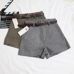 New Casual Comfortable Elegant Wild Shorts With Belt Women's Woolen Shorts Autumn Winter Slim Wide Leg A-line Shorts Bigsweety