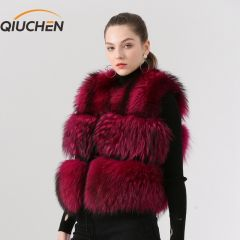 Women Real Fur Vest Genuine Raccoon Fur Gilet Waistcoat women winter fashion short vest high quality